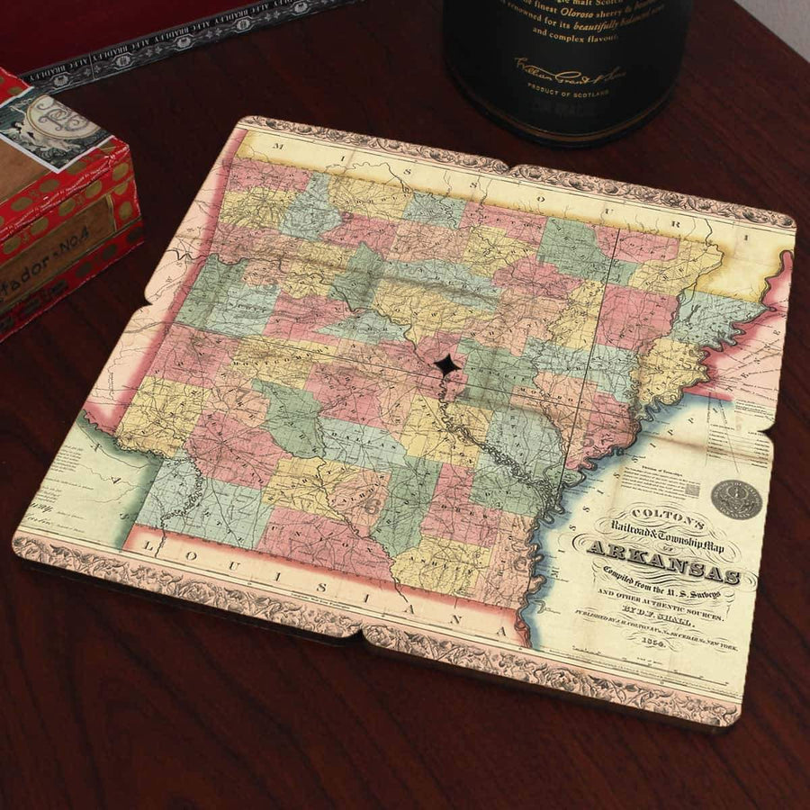 Torched Products Coasters Arkansas Old World Map Coaster