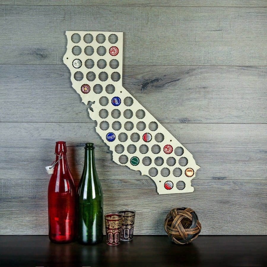 Torched Products Beer Bottle Cap Holder California Beer Cap Map