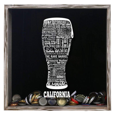 Torched Products Shadow Box Gray California Beer Typography Shadow Box (779401953397)