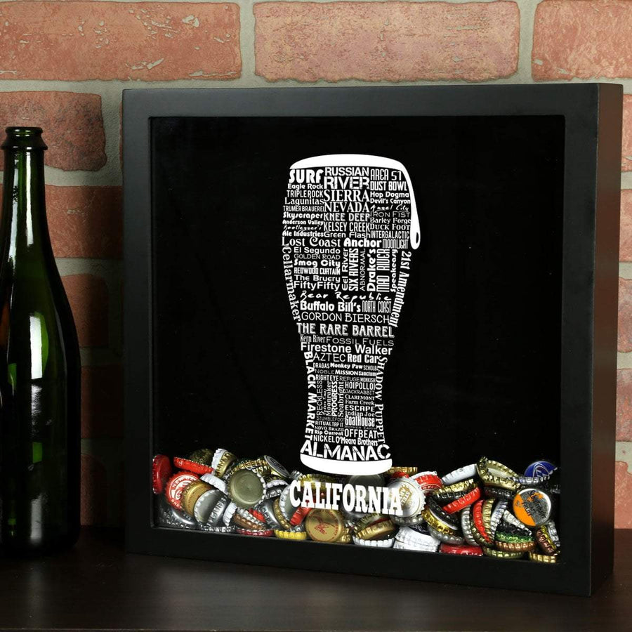 Torched Products Shadow Box Black California Beer Typography Shadow Box