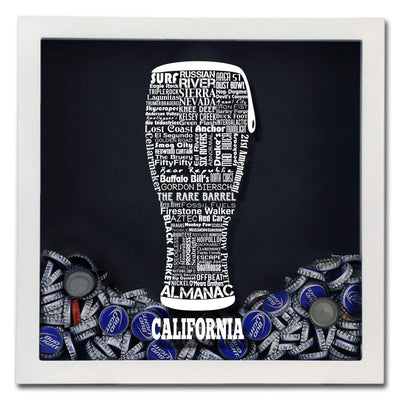 Torched Products Shadow Box California Beer Typography Shadow Box