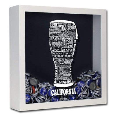 Torched Products Shadow Box White California Beer Typography Shadow Box (779401953397)