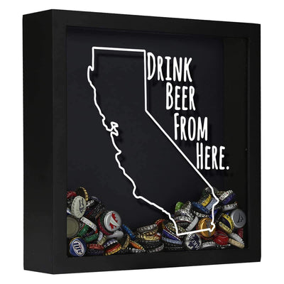 Torched Products Shadow Box Black California Drink Beer From Here Beer Cap Shadow Box