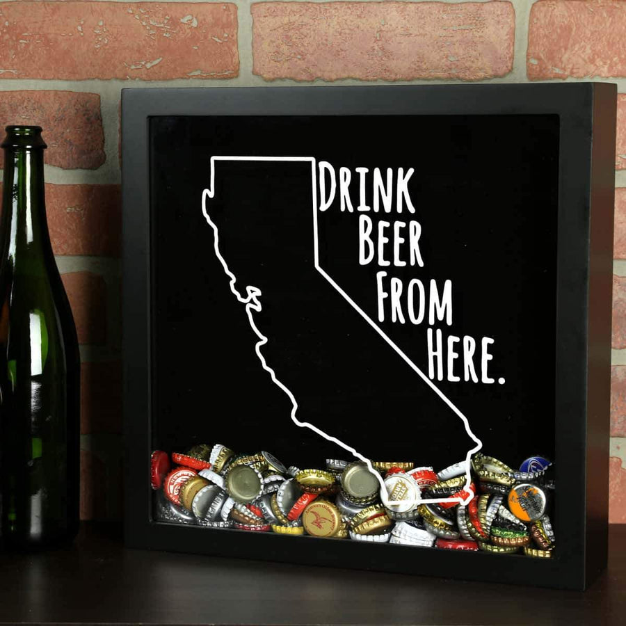 Torched Products Shadow Box Black California Drink Beer From Here Beer Cap Shadow Box (781161627765)