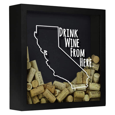 Torched Products Shadow Box Black California Drink Wine From Here Wine Cork Shadow Box (795714125941)
