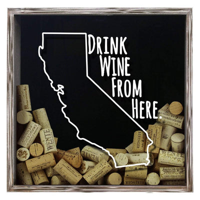 Torched Products Shadow Box Gray California Drink Wine From Here Wine Cork Shadow Box (795714125941)
