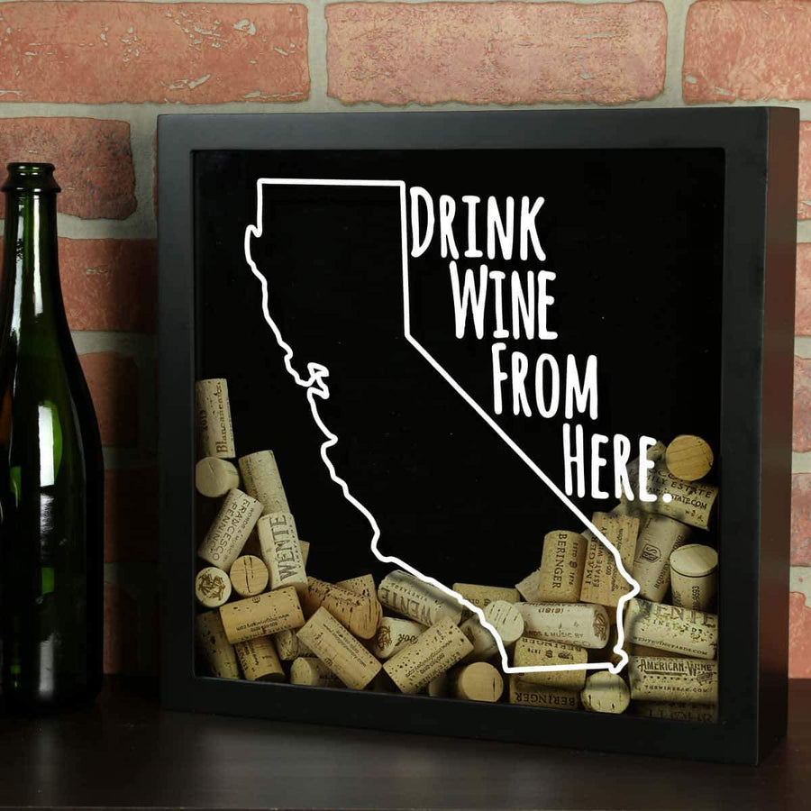Torched Products Shadow Box Black California Drink Wine From Here Wine Cork Shadow Box