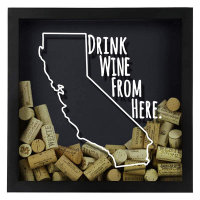 Torched Products Shadow Box California Drink Wine From Here Wine Cork Shadow Box (795714125941)