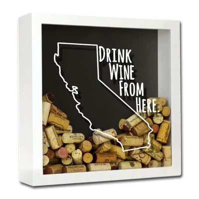 Torched Products Shadow Box White California Drink Wine From Here Wine Cork Shadow Box (795714125941)