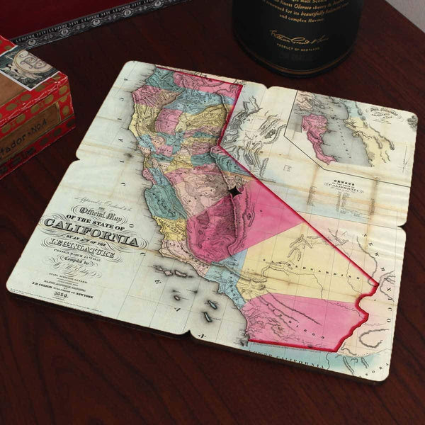 California Old World Map Coaster Torched Products