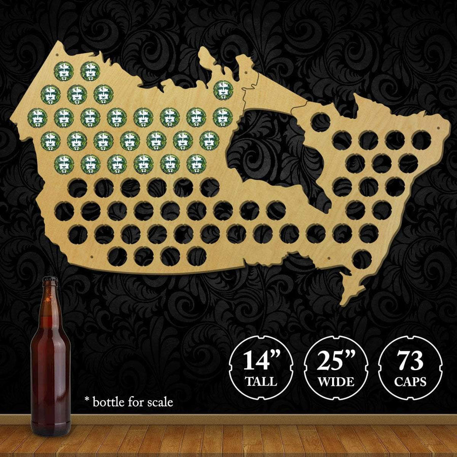 Torched Products Beer Bottle Cap Holder Canada Beer Cap Map