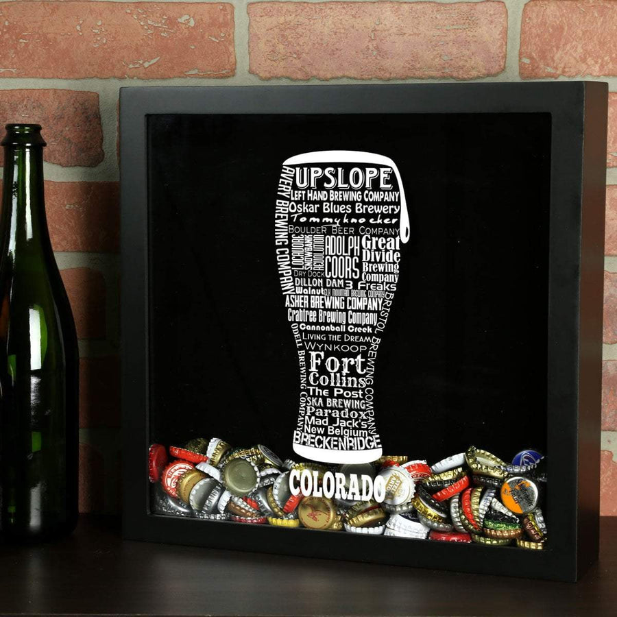 Torched Products Shadow Box Black Colorado Beer Typography Shadow Box