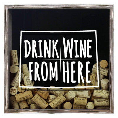 Torched Products Shadow Box Gray Colorado Drink Wine From Here Wine Cork Shadow Box (795717173365)