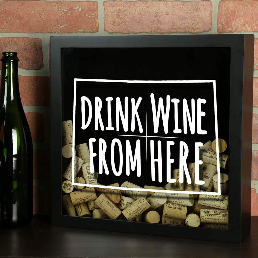 Torched Products Shadow Box Black Colorado Drink Wine From Here Wine Cork Shadow Box (795717173365)