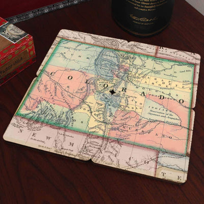 Torched Products Coasters Colorado Old World Map Coaster (790587572341)