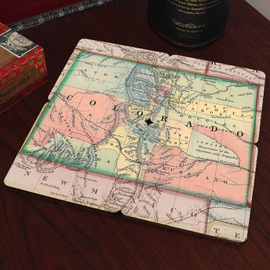 Torched Products Coasters Colorado Old World Map Coaster
