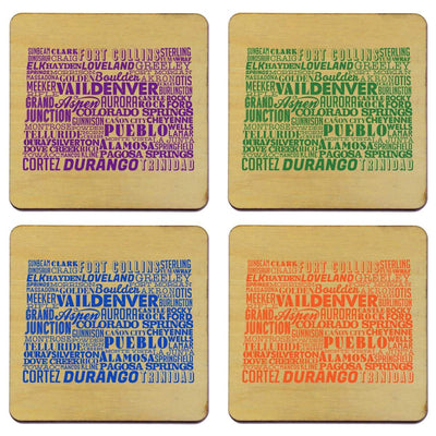 Torched Products Coasters Colorado State Typography Coaster (787808714869)