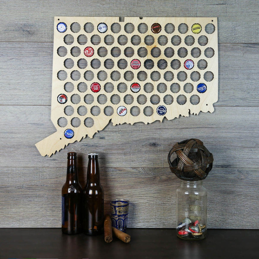 Torched Products Beer Bottle Cap Holder Connecticut Beer Cap Map