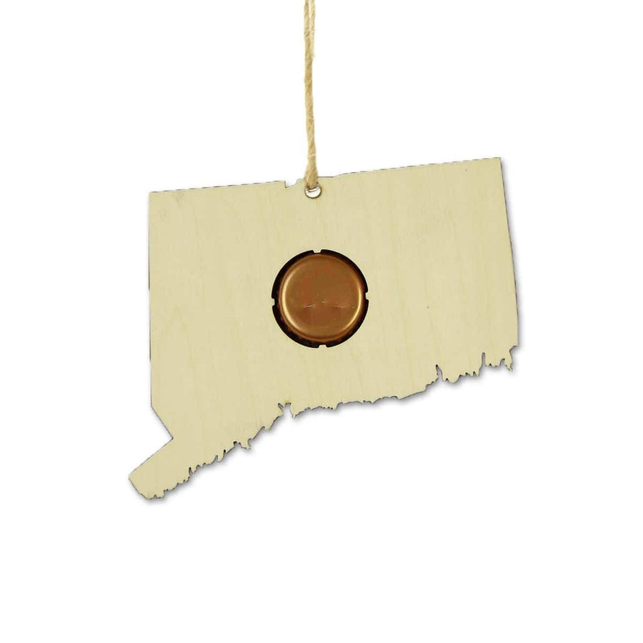 Torched Products Beer Cap Maps Connecticut Beer Cap Map Ornaments