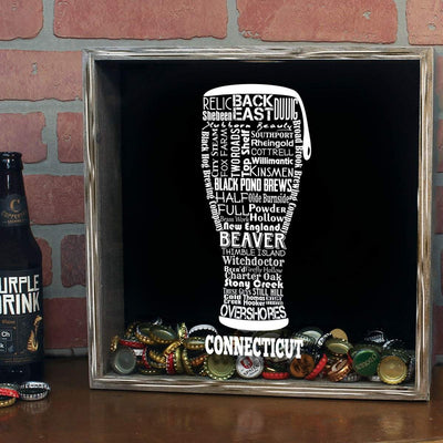 Torched Products Shadow Box Connecticut Beer Typography Shadow Box (779423088757)