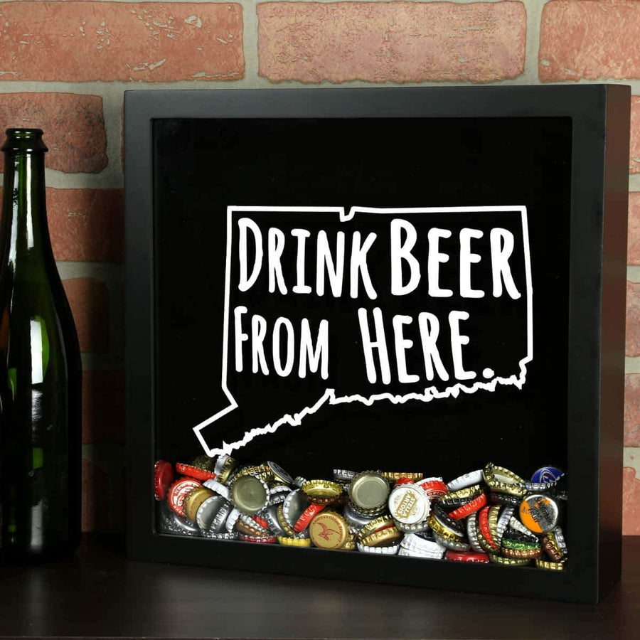 Torched Products Shadow Box Black Connecticut Drink Beer From Here Beer Cap Shadow Box