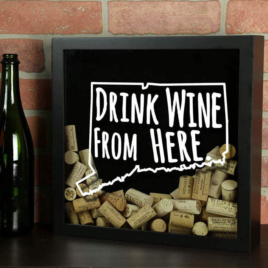 Torched Products Shadow Box Black Connecticut Drink Wine From Here Wine Cork Shadow Box