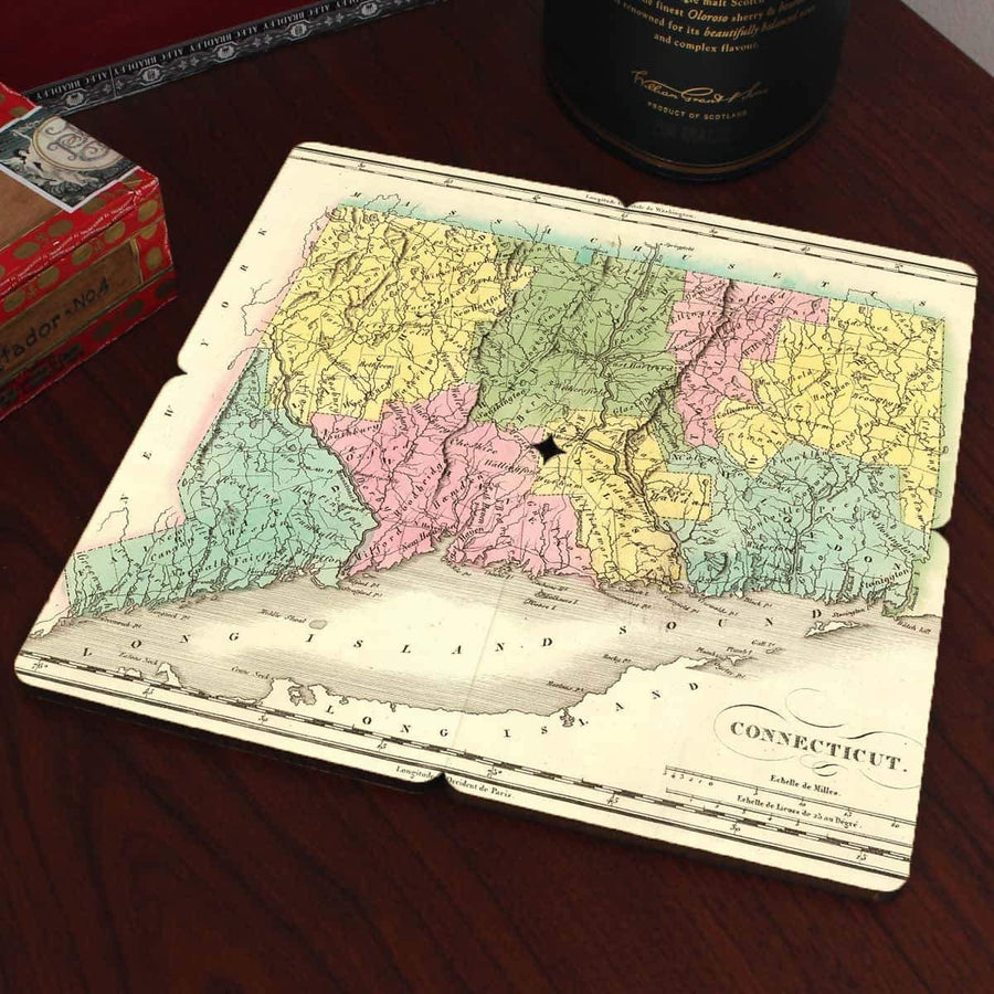 Torched Products Coasters Connecticut Old World Map Coaster