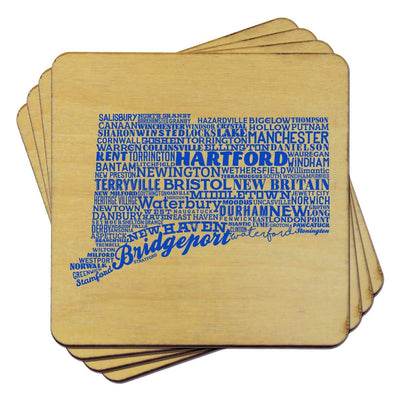Torched Products Coasters Connecticut State Typography Coaster