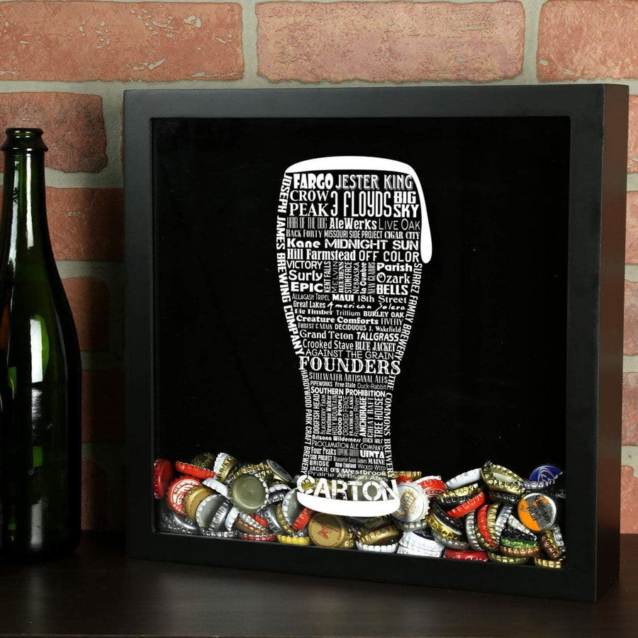 Torched Products Shadow Box Black Craft Beer Typography Shadow Box