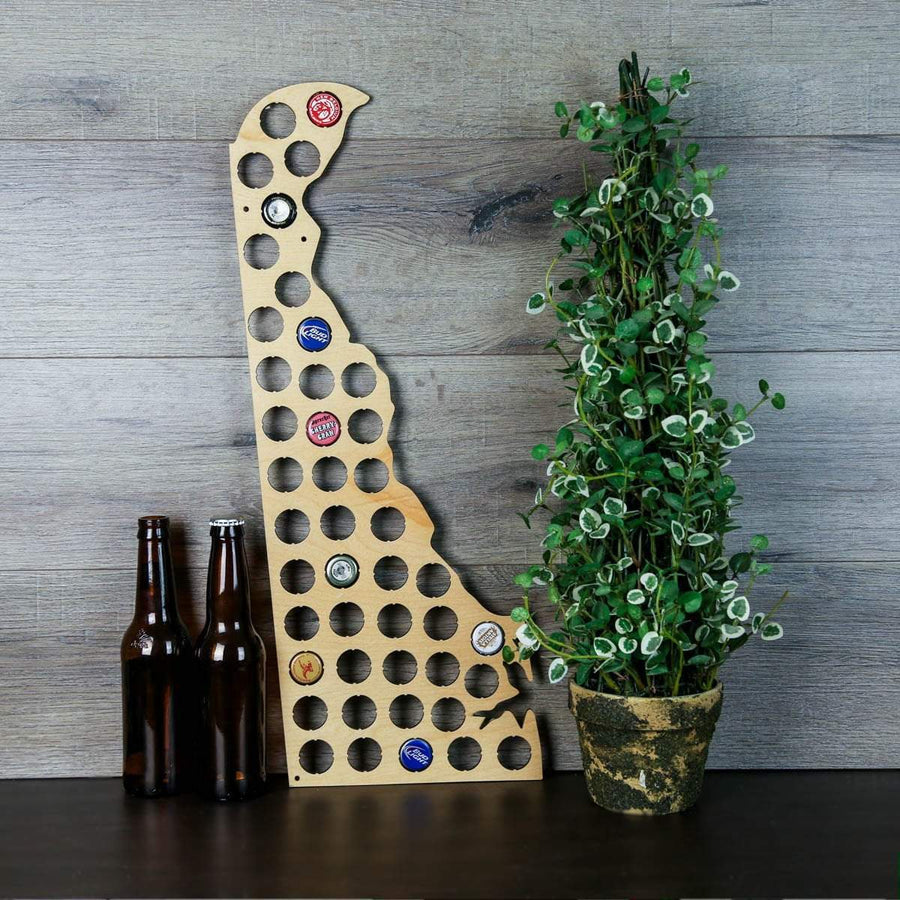 Torched Products Beer Bottle Cap Holder Delaware Beer Cap Map