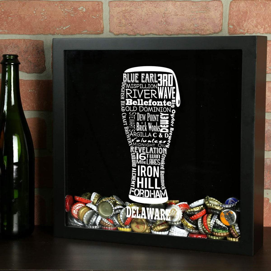 Torched Products Shadow Box Black Delaware Beer Typography Shadow Box