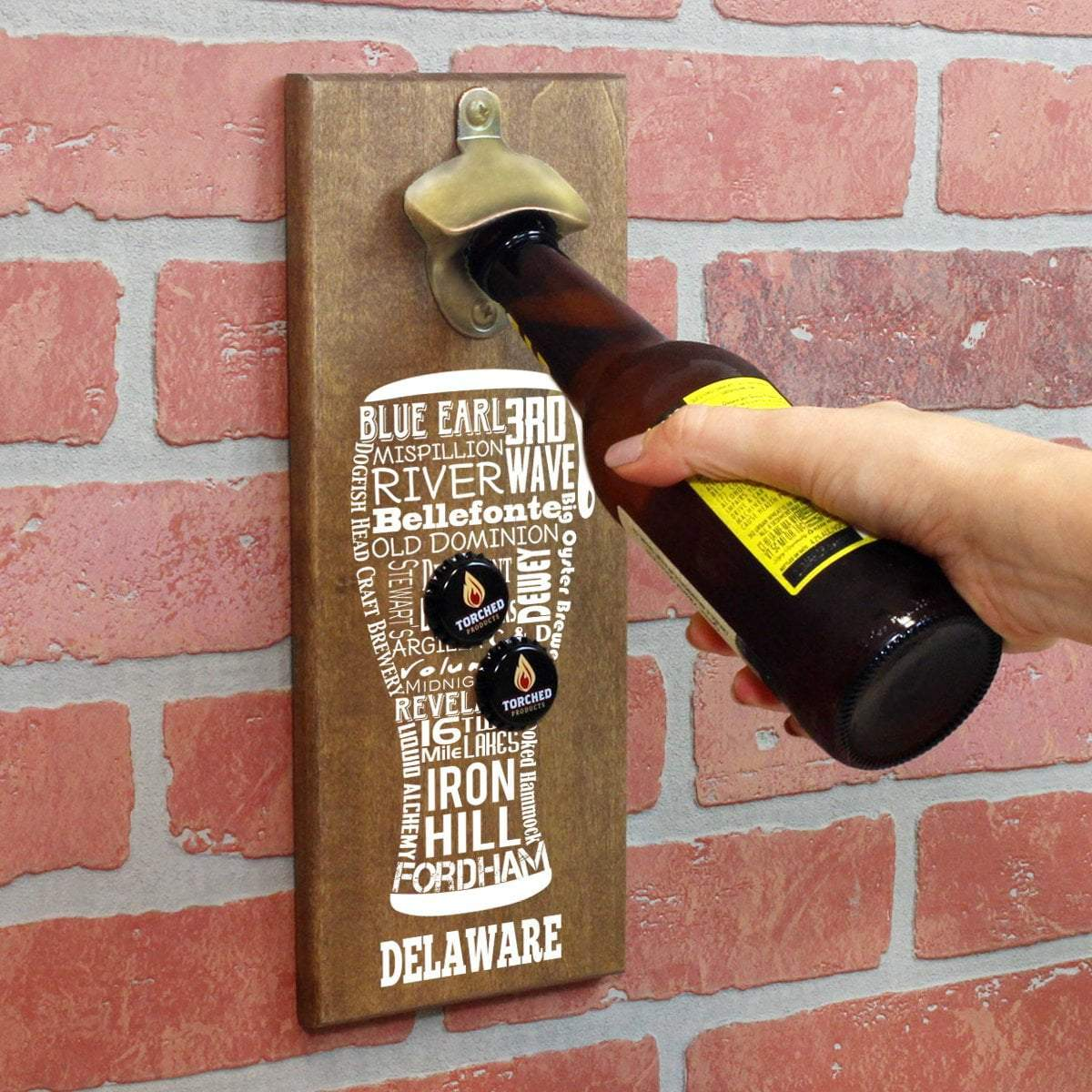delaware craft beer typography cap catching magnetic bottle openertorched products bottle opener default title delaware craft beer typography cap catching magnetic bottle opener