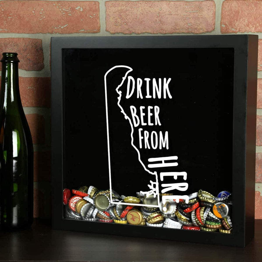 Torched Products Shadow Box Black Delaware Drink Beer From Here Beer Cap Shadow Box