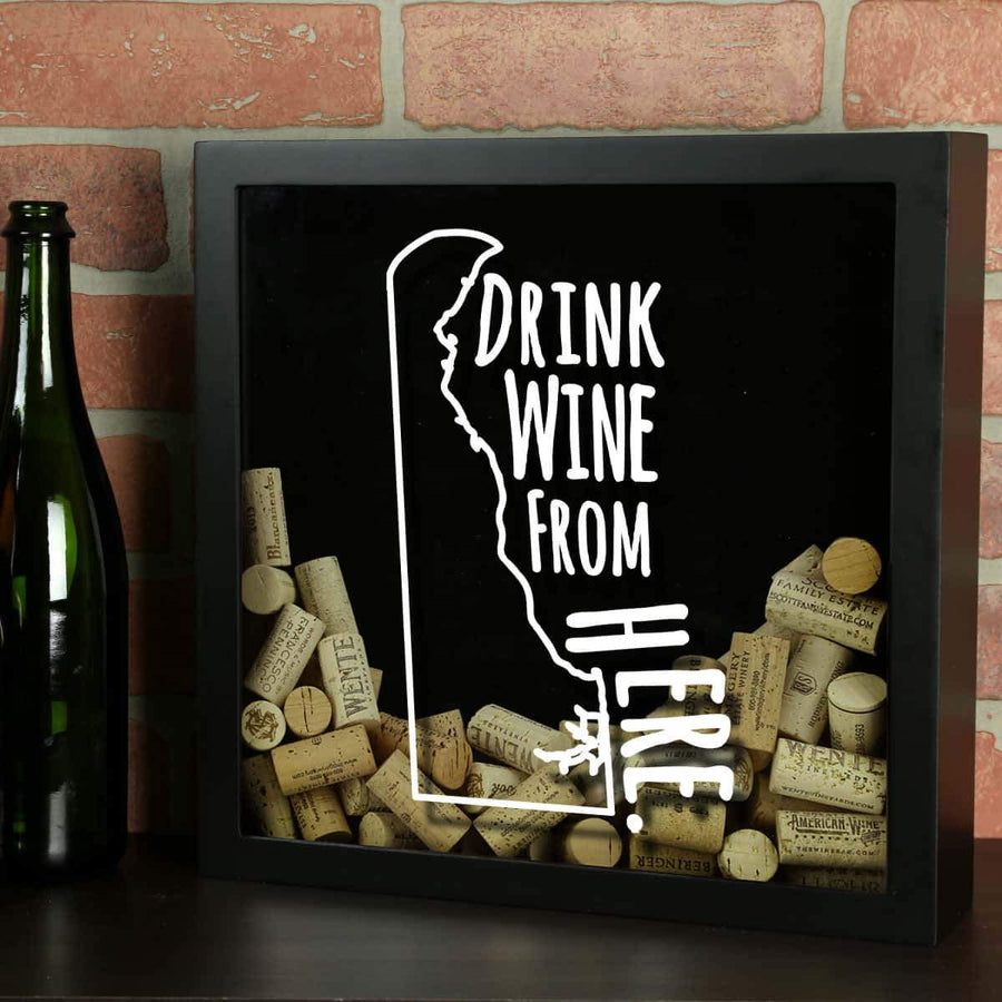 Torched Products Shadow Box Black Delaware Drink Wine From Here Wine Cork Shadow Box