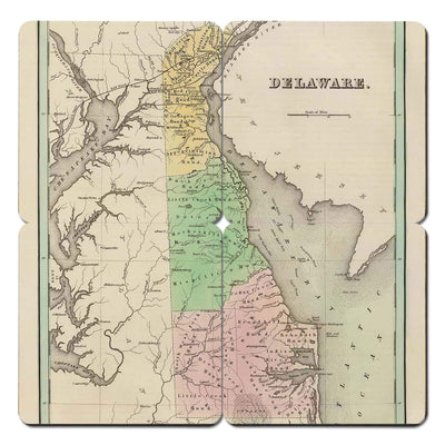 Torched Products Coasters Delaware Old World Map Coaster
