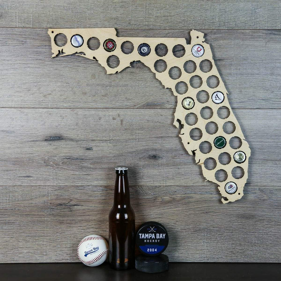 Torched Products Beer Bottle Cap Holder Florida Beer Cap Map