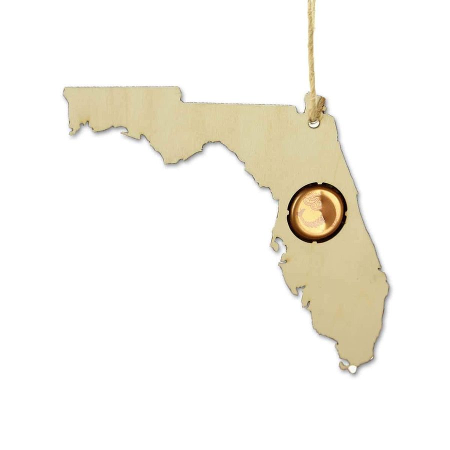 Torched Products Beer Cap Maps Florida Beer Cap Map Ornaments