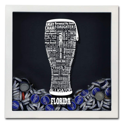 Torched Products Shadow Box Florida Beer Typography Shadow Box