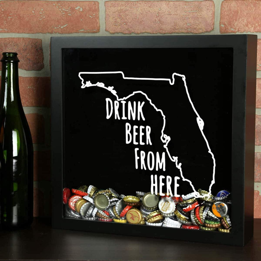 Torched Products Shadow Box Black Florida Drink Beer From Here Beer Cap Shadow Box