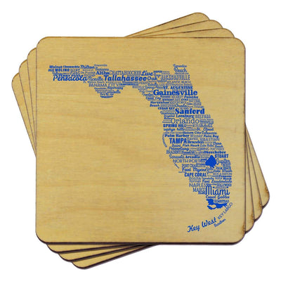 Torched Products Coasters Florida State Typography Coaster