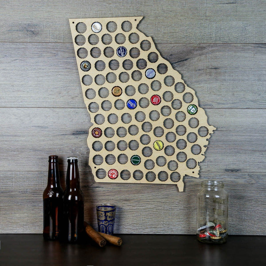 Torched Products Beer Bottle Cap Holder Georgia Beer Cap Map