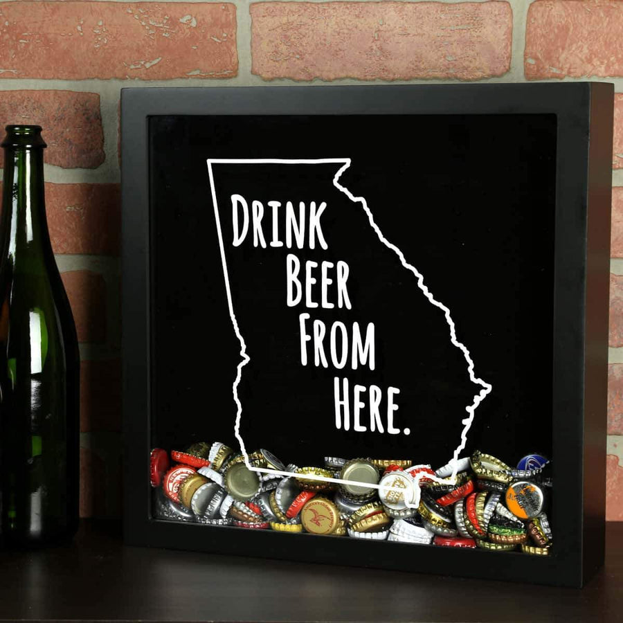 Torched Products Shadow Box Black Georgia Drink Beer From Here Beer Cap Shadow Box