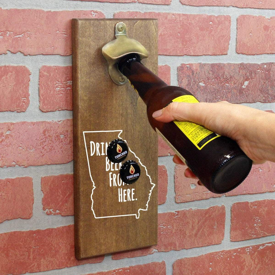 Torched Products Bottle Opener Default Title Georgia Drink Beer From Here Cap Catching Magnetic Bottle Openers