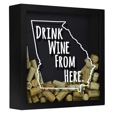 Torched Products Shadow Box Black Georgia Drink Wine From Here Wine Cork Shadow Box (795724611701)