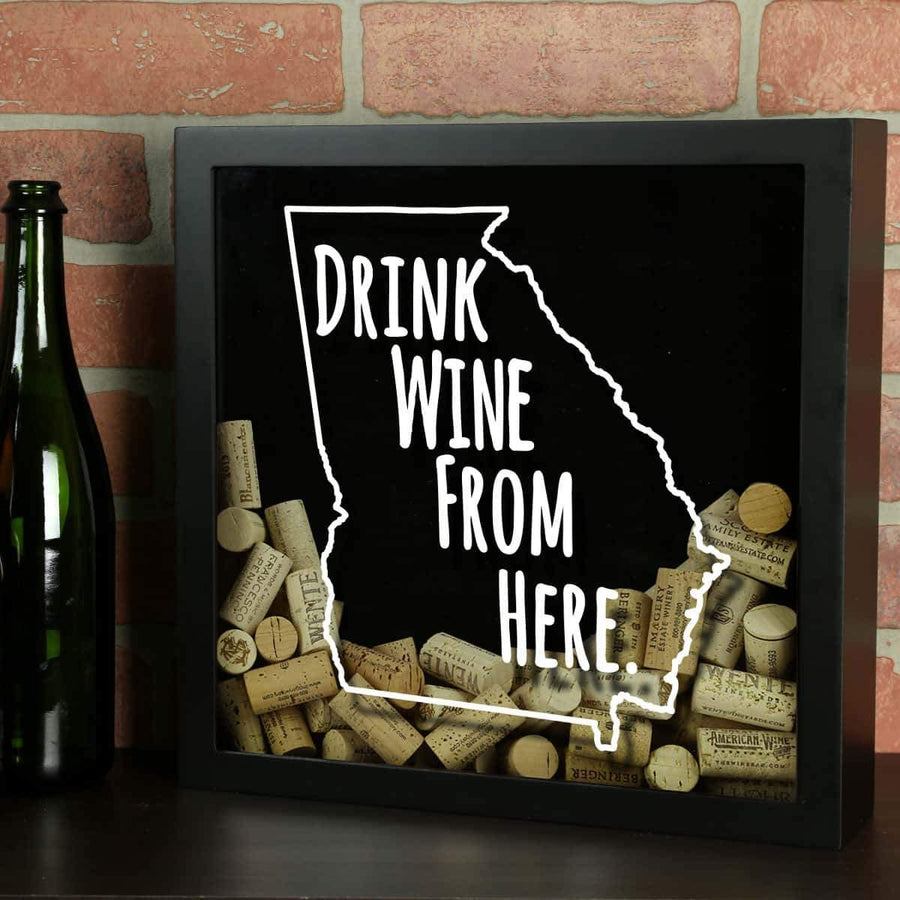 Torched Products Shadow Box Black Georgia Drink Wine From Here Wine Cork Shadow Box