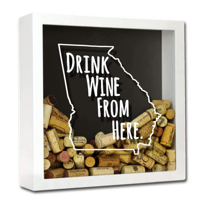 Torched Products Shadow Box White Georgia Drink Wine From Here Wine Cork Shadow Box (795724611701)
