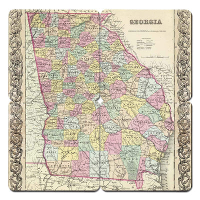 Torched Products Coasters Georgia Old World Map Coaster (790591373429)