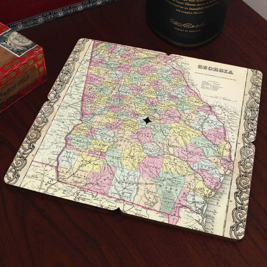Torched Products Coasters Georgia Old World Map Coaster