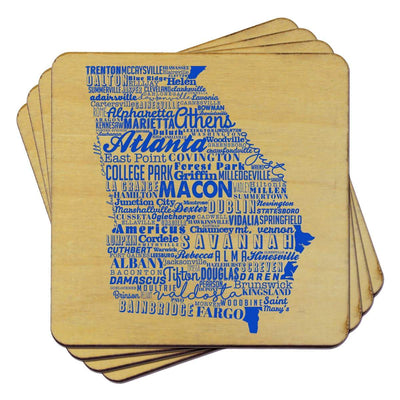 Torched Products Coasters Georgia State Typography Coaster