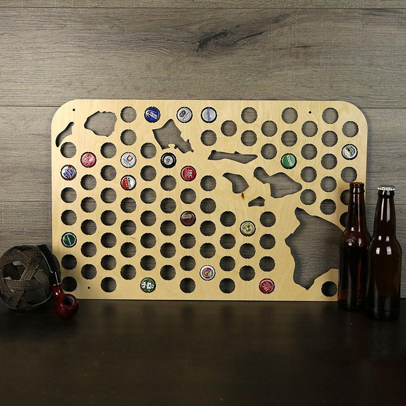 Torched Products Beer Bottle Cap Holder Hawaii Beer Cap Map